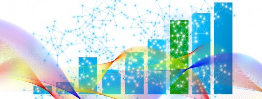 Grafik: verschiedenfarbige transparente Wellen, dahinter Sternzeichen-Grafik, dahinter unterschiedlich hohe vertikale Diagrammbalken