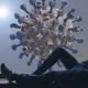 Foto-Komposition: Mann liegt angelehnt mit Händen in den Taschen auf einer Fensterbank und schaut nach draußen auf einen vorbeifliegenden riesengroßen Virus