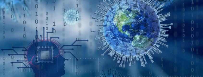 Foto: Weltkugel in Coronavirus-Form. Teile einer Platine mit Kopfsilhouette und Zahlenfolgen alles in Blau im Hintergrund.