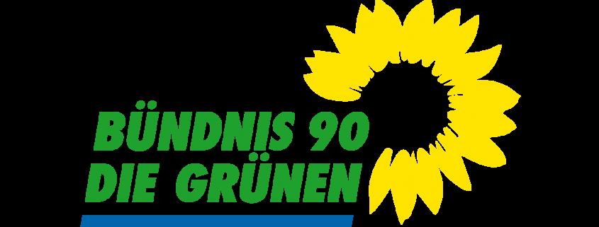 Grafik: grüner Schriftzug mit blauem Unterstrich und gelber Sonnenblume oben rechts