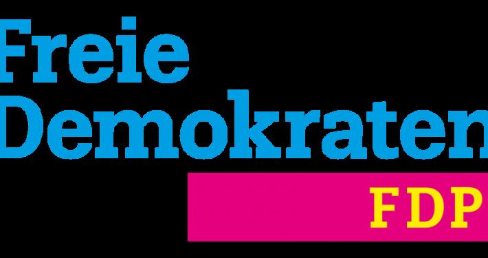 """Grafik: Schriftzug """"Freie Demokraten"""" in blau oben, darunter Buchstaben """"FDP"""" in Gelb auf rotem Hintergrund"""