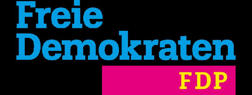 """Typografik: Schriftzug """"Freie Demokraten"""" in blau oben, darunter Buchstaben """"FDP"""" in Gelb auf rotem Hintergrund"""