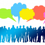 Grafik: Schemenhafte Darstellung einer Gruppe mit darübersitzenden Sprechblasen