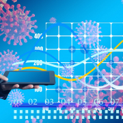 Foto: Collage Statistikgrafik, Coronavirus, Mann mit Tablet