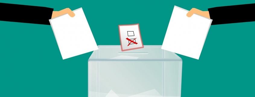 Skizze: Wahlzettel über Wahlurne